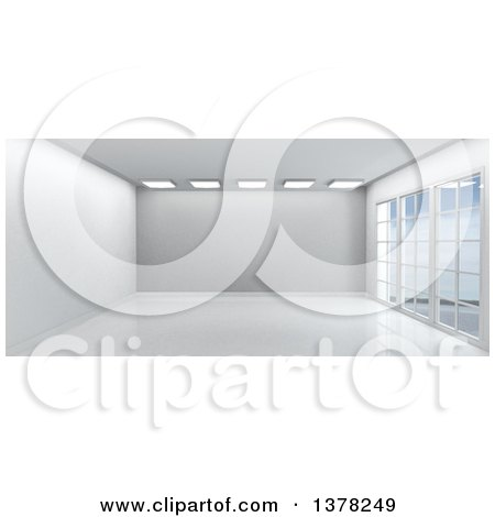 Clipart of a 3d White Empty Room Interior with Floor to Ceiling Windows - Royalty Free Illustration by KJ Pargeter