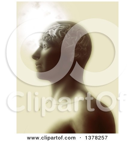 Clipart of a 3d Anatomical Man with Visible Brain in Sepia Tones - Royalty Free Illustration by KJ Pargeter