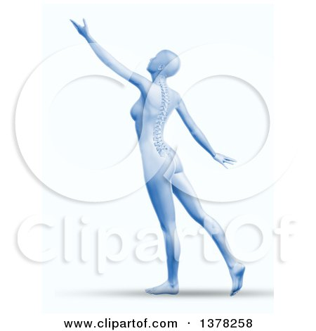 Clipart of a 3d Blue Anatomical Woman Reaching or Dancing, with Visible Spine, on Shaded White - Royalty Free Illustration by KJ Pargeter