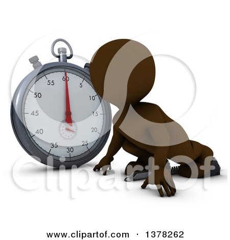 Clipart of a 3d Brown Man Runner on Starting Blocks by a Giant Stop Watch, on a White Background - Royalty Free Illustration by KJ Pargeter