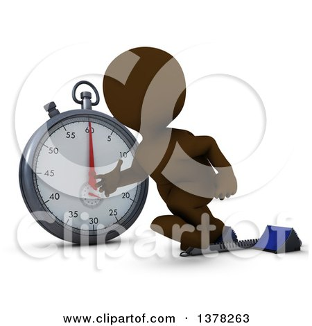 Clipart of a 3d Brown Man Runner Taking off on Starting Blocks by a Giant Stop Watch, on a White Background - Royalty Free Illustration by KJ Pargeter