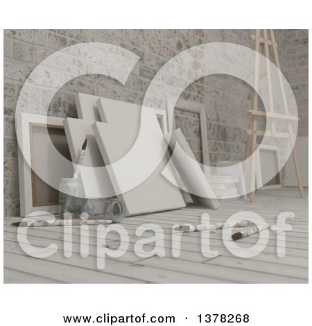 Clipart of 3d Blank Art Canvases, Paintbrushes and an Easel on Wood over Bricks - Royalty Free Illustration by KJ Pargeter