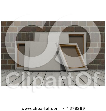 Clipart of 3d Blank Art Canvases on Wood over Bricks - Royalty Free Illustration by KJ Pargeter