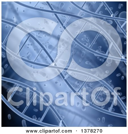 Clipart of a Background of Blue Diagonal DNA Strands and Blood Cells - Royalty Free Illustration by KJ Pargeter