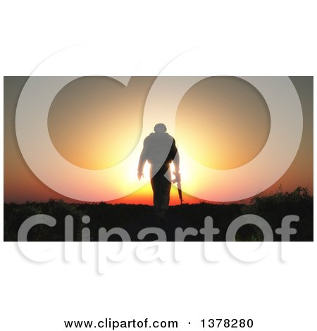 Clipart of a 3d Silhouetted Soldier Walking Away with His Head Down, Rifle in Hand, Against a Sunset - Royalty Free Illustration by KJ Pargeter