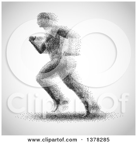 Clipart of a Man Made of Dots Running to the Left, on a Gradient Gray Background - Royalty Free Vector Illustration by KJ Pargeter