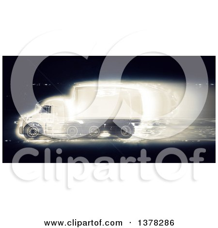 Clipart of a 3d Fast Big Rig Truck, on Black - Royalty Free Illustration by KJ Pargeter