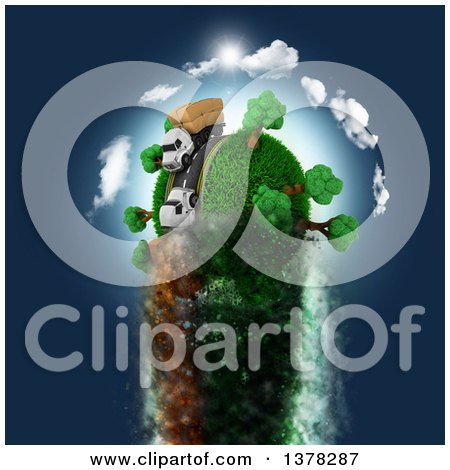 Clipart of a 3d Roadway with Big Rig Trucks Transporting Boxes, Driving Around a Grassy Planet, Zooming Through Blue Sky - Royalty Free Illustration by KJ Pargeter
