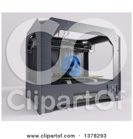 3d Printer Printing a Human Skull, on a White Background Posters, Art Prints