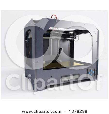 Clipart of a 3d Printer, on a White Background - Royalty Free Illustration by KJ Pargeter