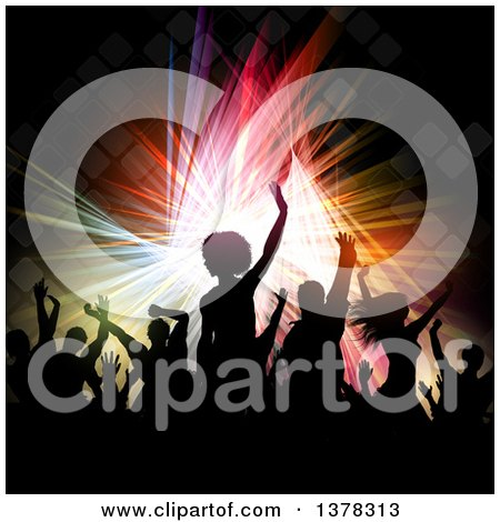 Clipart of a Crowded Dance Floor with Silhouetted People over Colorful Lights and Tiles - Royalty Free Vector Illustration by KJ Pargeter