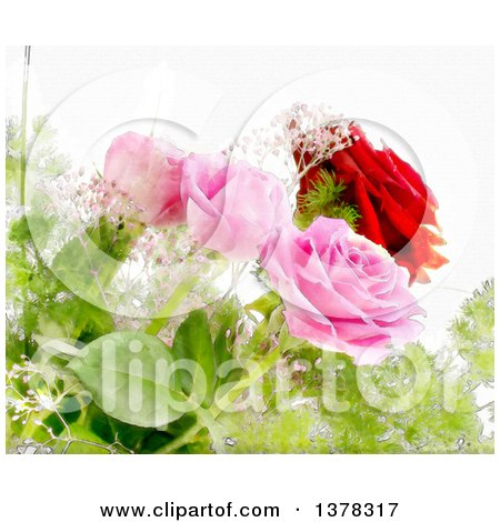 Clipart of a Background of Painted Watercolor Roses - Royalty Free Illustration by KJ Pargeter