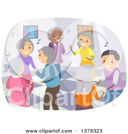 Clipart Of A Group Of Happy Senior Citizens Dancing Royalty Free Vector Illustration