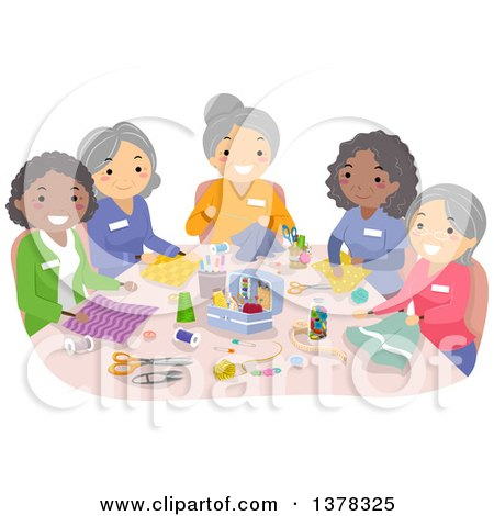 Clipart of a Group of Senior Women Sewing Together - Royalty Free Vector Illustration by BNP Design Studio