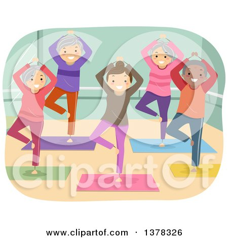 Clipart of a Group of Senior Citizens Doing Yoga in a Studio - Royalty Free Vector Illustration by BNP Design Studio