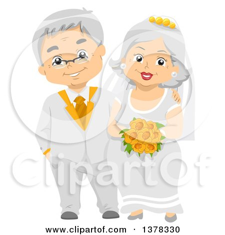 Clipart of a Happy White Senior Wedding Couple - Royalty Free Vector Illustration by BNP Design Studio