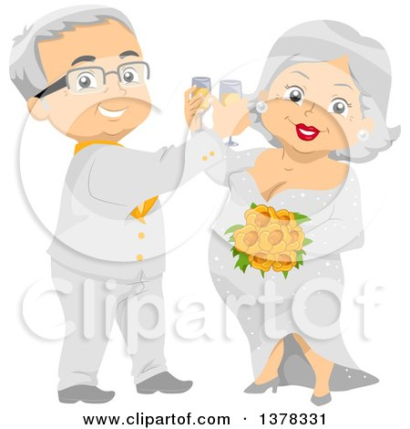 Clipart of a Happy White Senior Wedding Couple Toasting with Champagne - Royalty Free Vector Illustration by BNP Design Studio