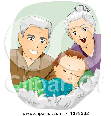 Clipart of Happy White Senior Grandparents Looking at a Sleeping Baby Boy - Royalty Free Vector Illustration by BNP Design Studio
