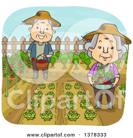 Clipart of a Happy White Senior Couple Working in Their Vegetable Garden - Royalty Free Vector Illustration by BNP Design Studio