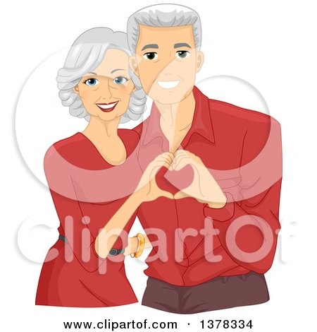 Clipart of a Happy White Senior Couple Wearing Matching Shirts and Forming a Heart with Their Hands - Royalty Free Vector Illustration by BNP Design Studio
