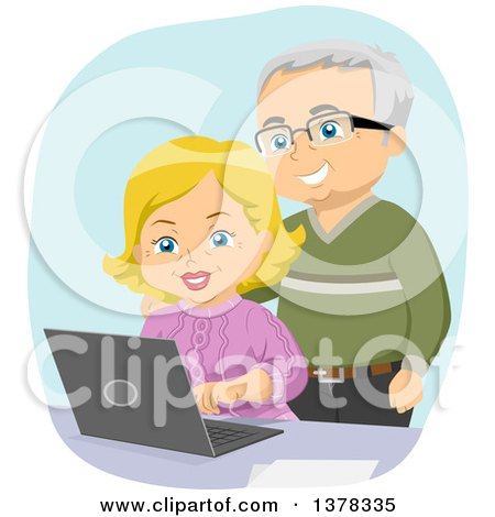 Clipart of a Happy White Senior Couple Using a Laptop Computer - Royalty Free Vector Illustration by BNP Design Studio
