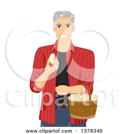 Clipart of a Happy White Male Senior Citizen Collecting Eggs on His Farm - Royalty Free Vector Illustration by BNP Design Studio