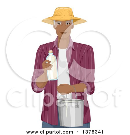 Clipart of a Handsome Black Senior Man Holding Fresh Milk in a Bottle and Pail - Royalty Free Vector Illustration by BNP Design Studio