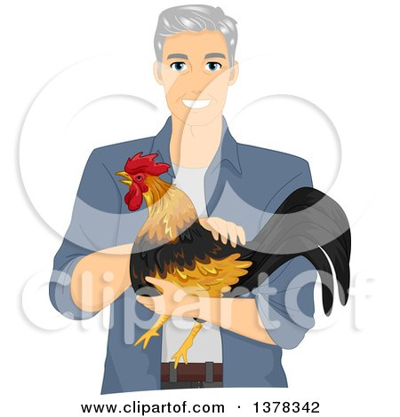 Clipart of a Handsome White Senior Man Holding a Rooster - Royalty Free Vector Illustration by BNP Design Studio