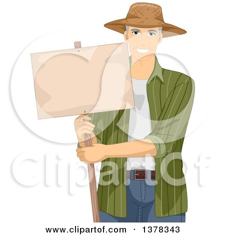 Clipart of a Handsome White Male Senior Farmer Holding a Blank Sign - Royalty Free Vector Illustration by BNP Design Studio