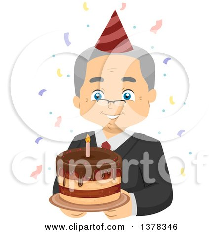 Clipart of a Happy White Senior Man Wearing Glasses and Holding a Cake at His Retirement Party - Royalty Free Vector Illustration by BNP Design Studio