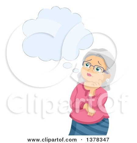 Clipart of a Senior White Woman Worrying and Thinking About Alzheimers - Royalty Free Vector Illustration by BNP Design Studio