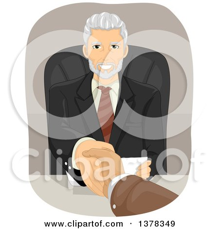 Clipart of a Handsome Senior Business Man Shaking Hands with a Client over a Desk - Royalty Free Vector Illustration by BNP Design Studio