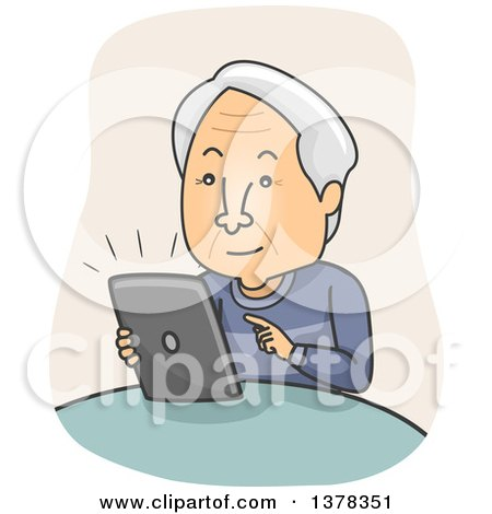 Clipart of a Cartoon Senior White Man Using a Tablet Computer - Royalty Free Vector Illustration by BNP Design Studio