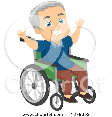 Clipart of a Happy Senior White Man Cheering in a Wheelchair - Royalty Free Vector Illustration by BNP Design Studio