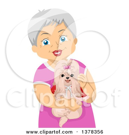 Clipart of a Happy White Senior Woman Holding Her Shihtzu Dog - Royalty Free Vector Illustration by BNP Design Studio