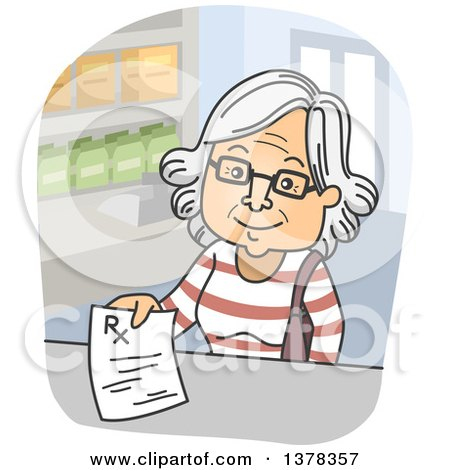 Clipart of a Cartoon Happy White Senior Woman Turning in a Prescription at a Pharmacy - Royalty Free Vector Illustration by BNP Design Studio