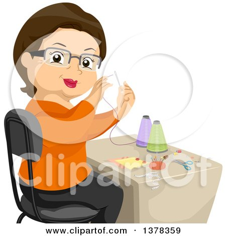 Clipart of a Happy Brunette White Senior Woman Sewing - Royalty Free Vector Illustration by BNP Design Studio