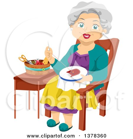 Clipart of a Happy White Senior Woman Embroidering a Cat - Royalty Free Vector Illustration by BNP Design Studio