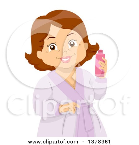 Clipart of a Happy Brunette White Senior Woman in a Spa Robe, Holding a Lotion Bottle - Royalty Free Vector Illustration by BNP Design Studio
