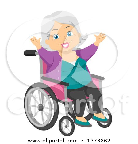 Clipart of a Happy White Senior Woman Cheering in a Wheelchair - Royalty Free Vector Illustration by BNP Design Studio