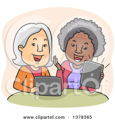 Clipart of Happy White and Black Senior Women Laughing and Video Streaming on Their Laptop and Tablet Computers - Royalty Free Vector Illustration by BNP Design Studio