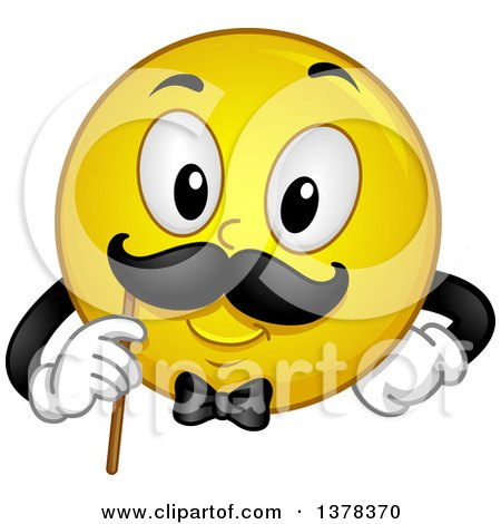 Clipart of a Smiley Emoji Gentleman Holding up a Mustache Photo Op - Royalty Free Vector Illustration by BNP Design Studio