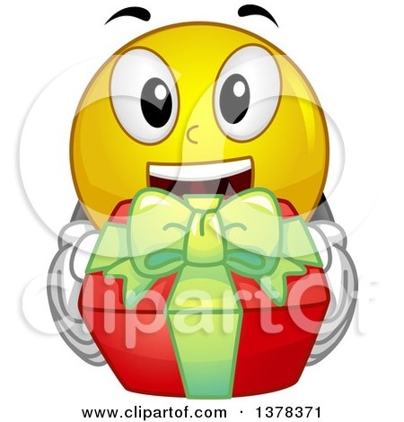 Clipart of a Smiley Emoji Holding up a Gift - Royalty Free Vector Illustration by BNP Design Studio