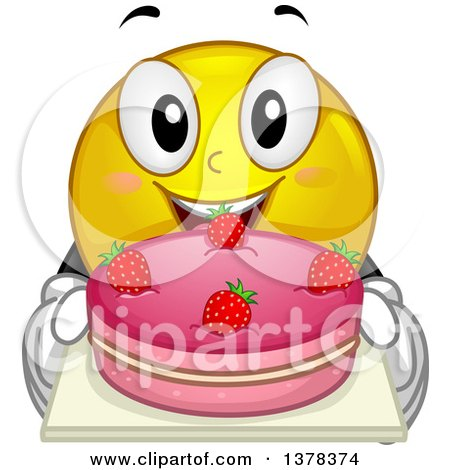 Clipart of a Smiley Emoji Holding a Strawberry Cake - Royalty Free Vector Illustration by BNP Design Studio