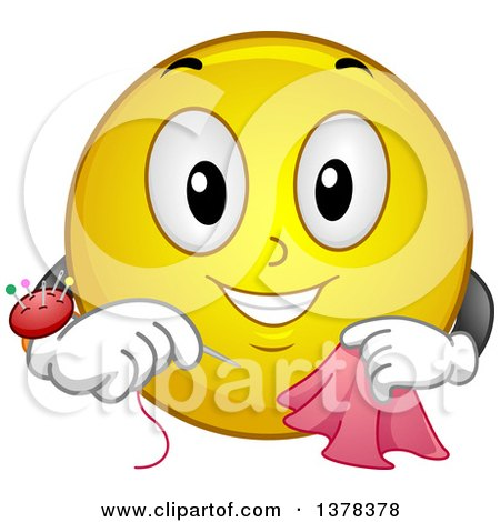 Clipart of a Smiley Emoji Sewing a Scarf - Royalty Free Vector Illustration by BNP Design Studio