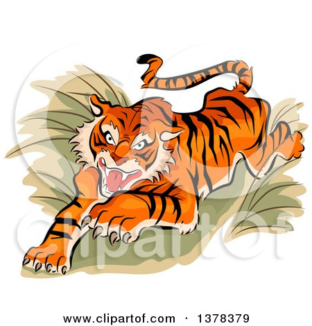 Clipart of a Leaping and Attacking Tiger - Royalty Free Vector Illustration by BNP Design Studio