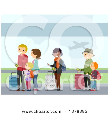 Clipart of People in Line at an Airport - Royalty Free Vector Illustration by BNP Design Studio