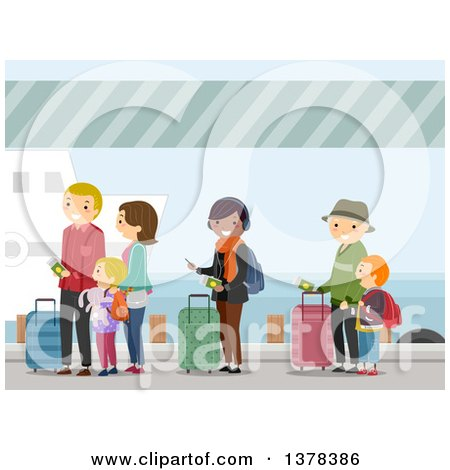 Clipart of People Waiting in Line to Board a Ship - Royalty Free Vector Illustration by BNP Design Studio
