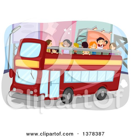 Clipart of People on a Double Decker Tour Bus - Royalty Free Vector Illustration by BNP Design Studio