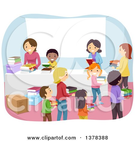 Clipart of Children Donating Old Books to an Organization - Royalty Free Vector Illustration by BNP Design Studio